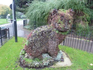 Probably the world's only piece of topiary in the form of a non-existent cat (looking a bit bedraggled), Whittington Park, Upper Holloway