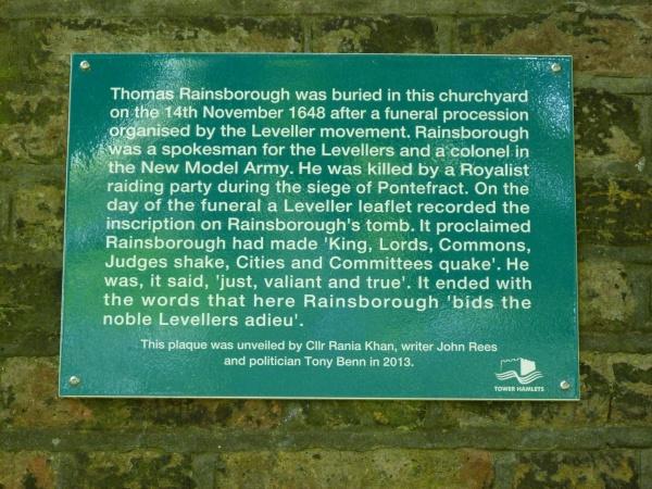 Rainsborough plaque, St John, Wapping