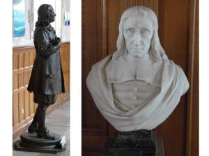 John Milton, statue and bust - St Giles Cripplegate