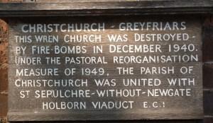 Christ Church Greyfriars plaque