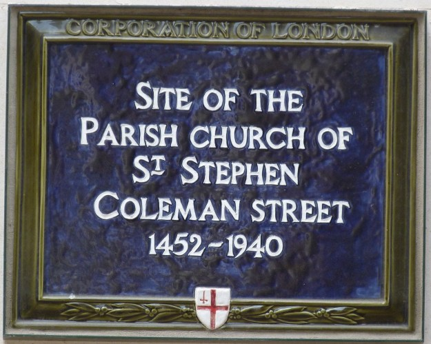 Site of St Stephen Coleman Street