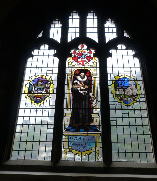 Window in St Giles Cripplegate showing the Fortune Theatre and Edward Alleyn