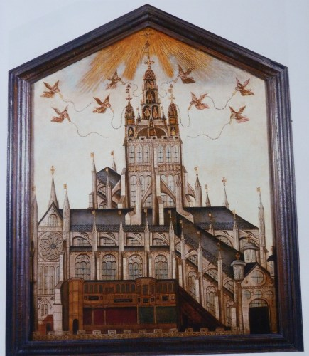Right panel of Society of Antiquaries' Diptych, showing vision of Old St Paul's with spire