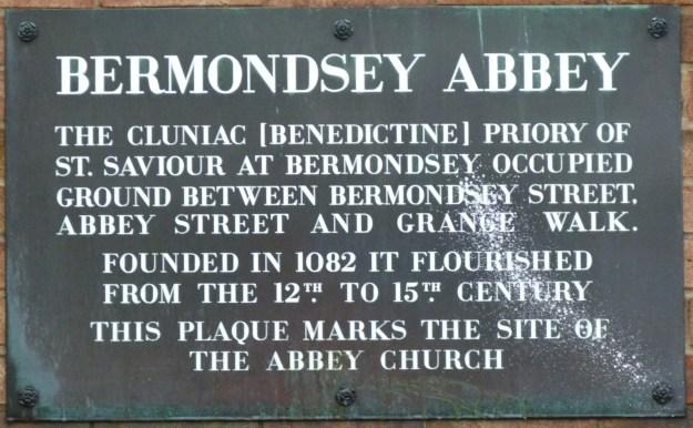 Bermondsey Abbey plaque