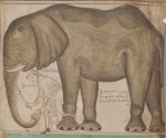 Contemporary drawing of the elephant and its keeper (by the monk and chronicler Matthew Paris)