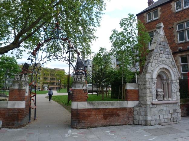 Entrance to former churchyard of St Mary Matfelon