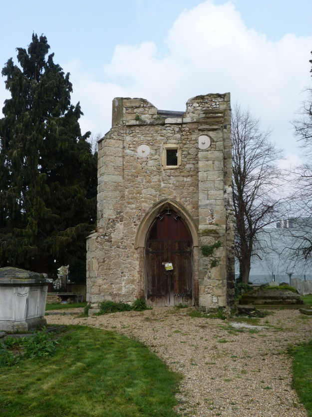 Old tower of St Margaret of Antioch from the front