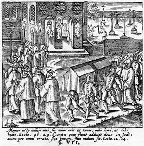 A funeral procession in Elizabethan times
