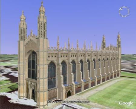Google Earth visualisation of King's College Chapel, Cambridge