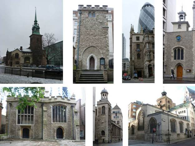 Surviving Medieval to post-Medieval City churches
