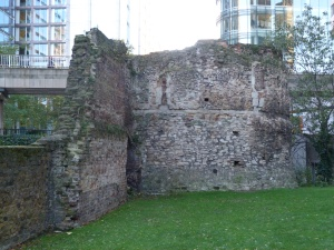 Wall and bastion, near Museum of London