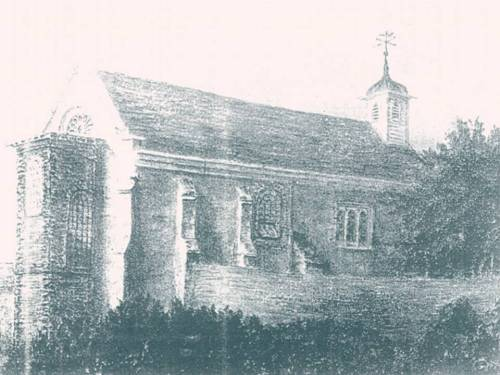 Illustration of circa 1800 showing then surviving essentially Norman church