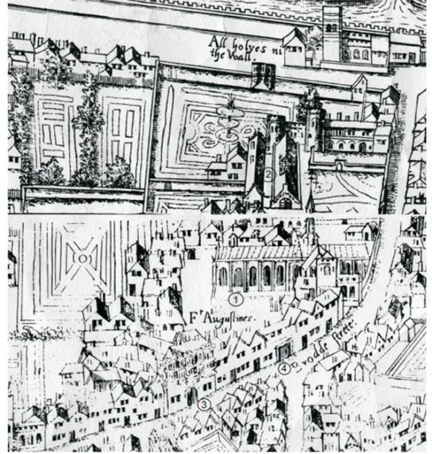 The former Augustinian Priory complex - as shown on the Copper-Plate Map of c1550 (1 - Church; 2 - Cloister; 3 - Cromwell's House; 4 - Gate-House)