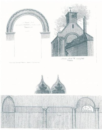 Late eighteenth-century engraving showing features in then surviving essentially Norman church