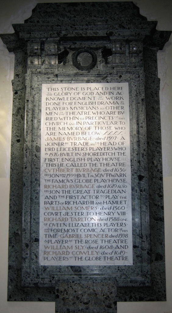 The actors' memorial in the interior, erected by the London Shakespeare League in 1913
