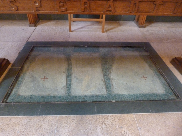 Surviving relics from Augustinian Priory under altar table of present Dutch Church