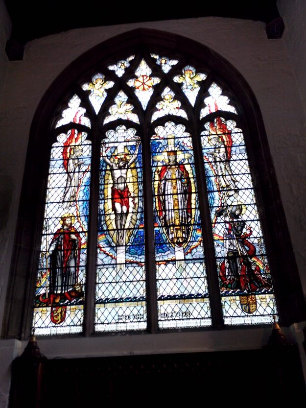 6 - Stained glass window with St Olaf in left panel