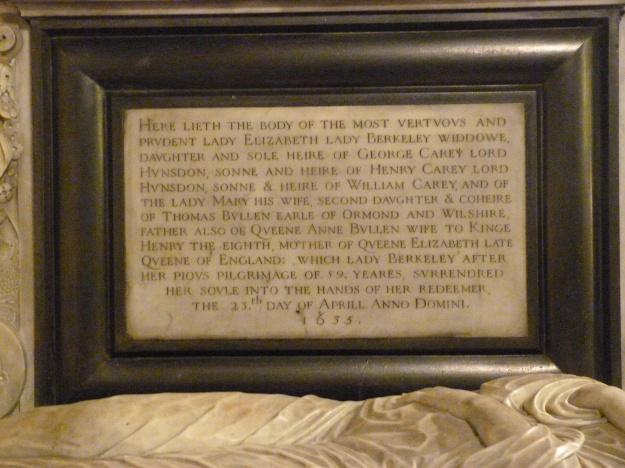Detail of memorial plaque to Elizabeth, Lady Berkeley, documenting her relationship to Anne Boleyn