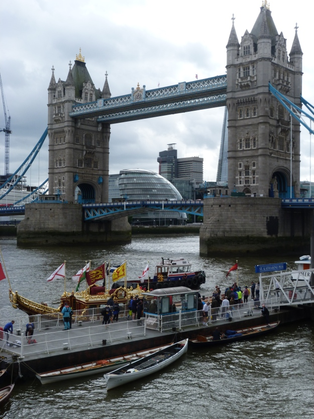 The Gloriana, moored in front of Tower Bridge