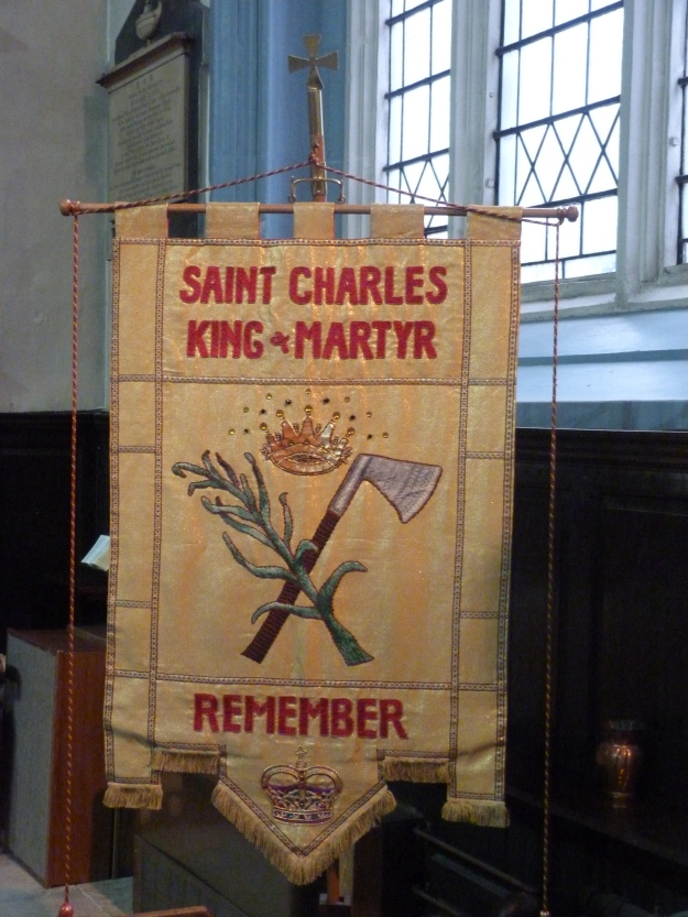 St Charles King & Martyr banner, church of St Katharine Cree