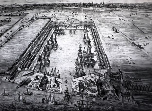 Greenland Dock (formerly Howland Dock) in Deptford, used by London whalers, in 1717