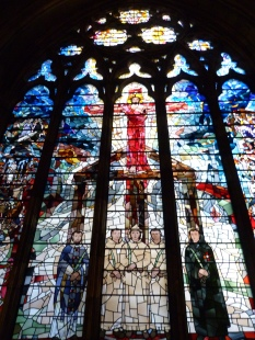 Stained-glass window showing Catholic martyrs at Tyburn