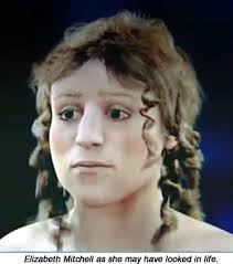 A facial reconstruction of Elizabeth Mitchell, who was buried in  the Crossbones Graveyard