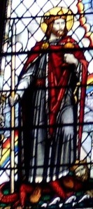 Stained glass window with St Olav(e) in left panel, church of St Olave Hart Street