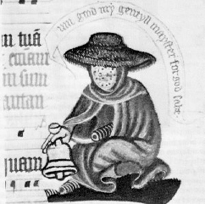 Leper with bell in margins of C14 MS