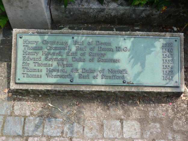 Plaque marking site of execution on Tower Hill