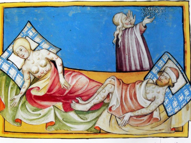 Victims of the Black Death, as depicted in the Toggenburg Bible of 1411