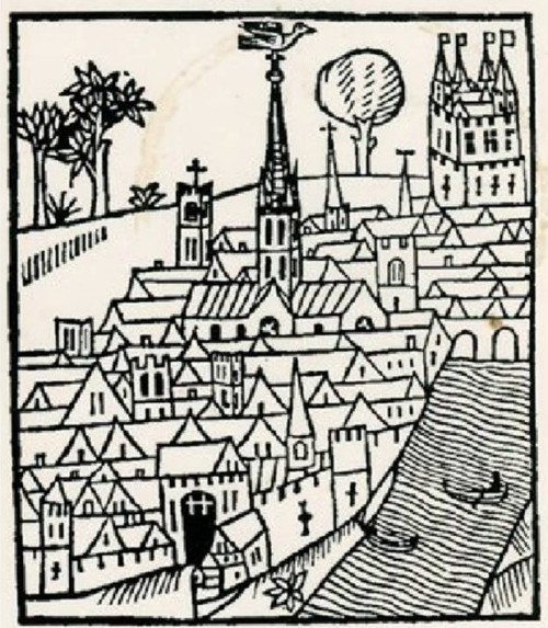 Woodcut of Norman London, from a recent edition of Fitzstephen's book
