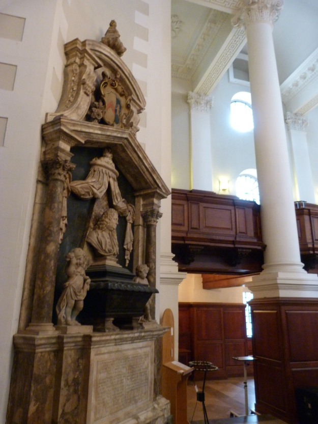 Interior with memorial to Edward Peck (d. 1736)