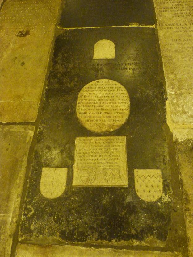 Post-Medieval gravestone in interior