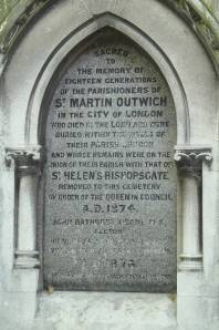 St Martin Outwich memorial in City of London cemetery