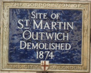 St Martin Outwich plaque on Threadneedle Street