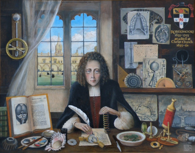 Modern portrait of Robert Hooke by Rita Greer