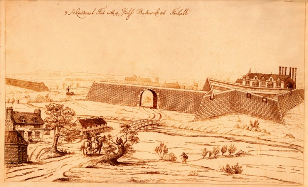 The Civil War star fort at Vauxhall, as depicted in c. 1800