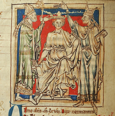 The coronation of William the Conqueror, Westminster Abbey, as depicted by Matthew Paris