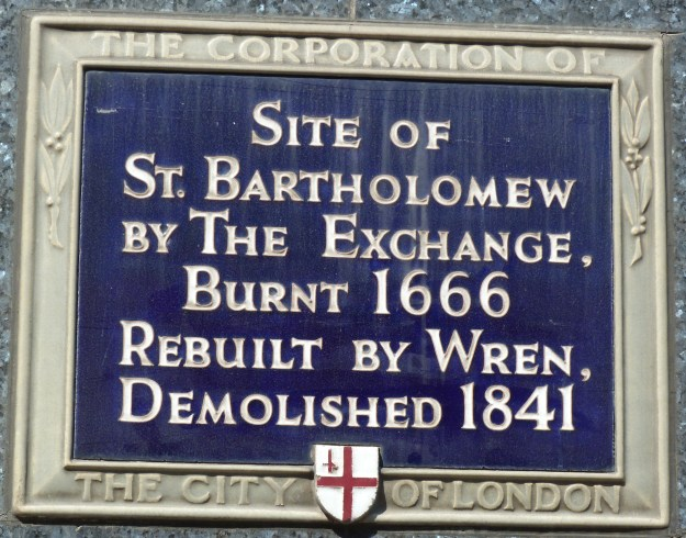 St Bartholomew by the Exchange plaque