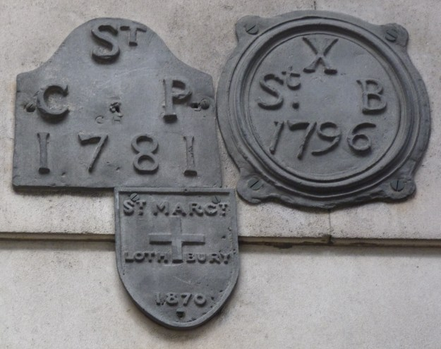 St Bartholomew by the Exchange, St Christopher le Stocks and St Margaret Lothbury parish boundary markers, Bank of England