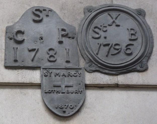 St Bartholomew by the Exchange, St Christopher le Stocks and St Margaret Lothbury parish boundary markers, Bank of England
