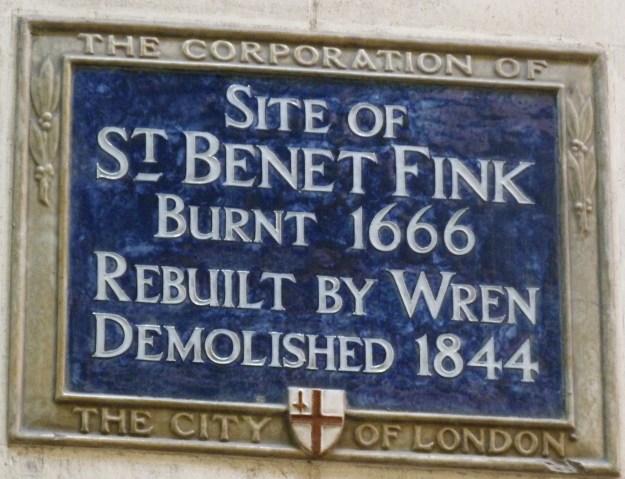 St Benet Fink plaque