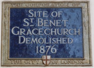St Benet Gracechurch plaque