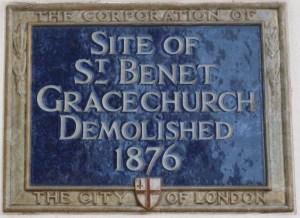 St Benet Gracechurch plaque