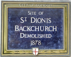 St Dionis Backchurch plaque