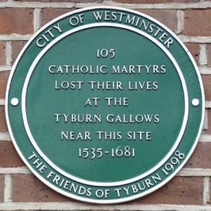 Plaque outside Tyburn Convent