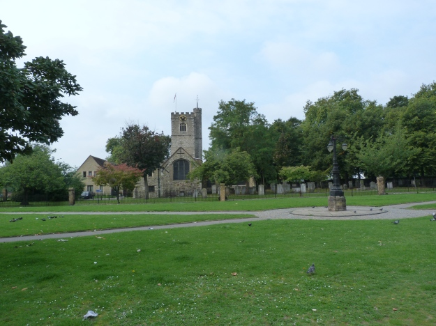 The site of the former abbey today with the surviving 13th century chapel (now the parish church of St Margaret) to the centre