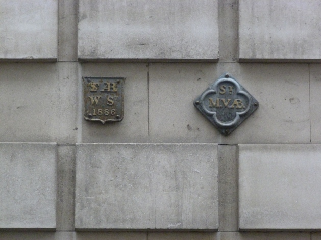 St Alban Wood Street and St Mary the Virgin Aldermanbury parish boundary markers, Love Lane