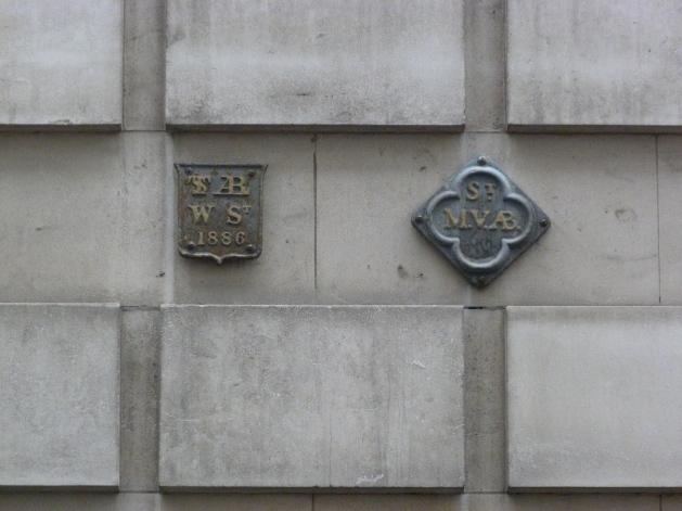 St Alban Wood Street and St Mary the Virgin Aldermanbury parish boundary markers, Love Lane